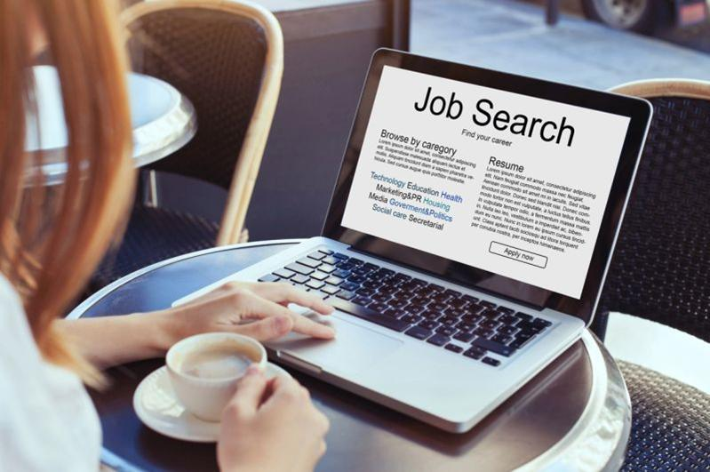 job search on laptop